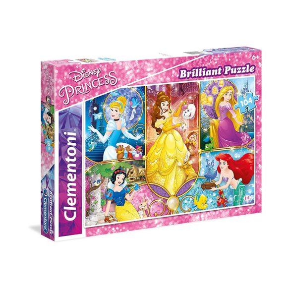 Puzzle 104 db-os - Disney Hercegnők kollázs ragyogó puzzle - Clementoni (20140)