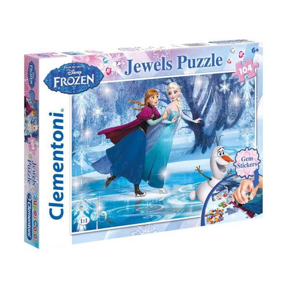 Puzzle 104 db-os - Jégvarázs puzzle ékkövekkel - Clementoni (20601)