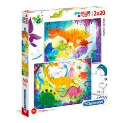 Puzzle 2x20 db-os Színezhető Dinoszaurus - Clementoni (24755)