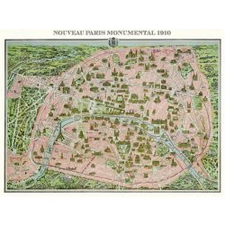 Puzzle 1000 db-os Párizs térkép 1910 - Piatnik