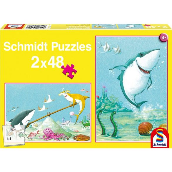 Puzzle 2x48 db-os - Kis fehér cápa - Schmidt