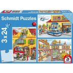 Puzzle 3x24 db-os - Fire brigade and police - Schmidt