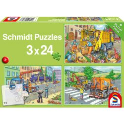 Puzzle 3x24 db-os - Munkagépek - Schmidt 56357
