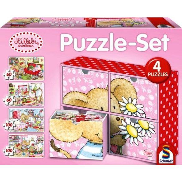 Puzzle-Set 2x60 és 2x100 db-os - Lillebi puzzle box 4 kirakóval - Schmidt (56503)