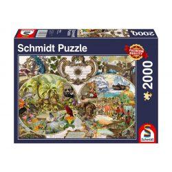 Puzzle 2000 db-os - Egzotikus Világtérkép - Schmidt 58362