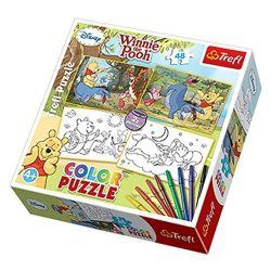 Trefl Color Puzzle Micimackó 2 az 1-ben 2x48 db-os színezhető puzzle filctollakkal (36501)