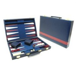 Backgammon 46x30 cm-es sötétkék műbőr kofferban