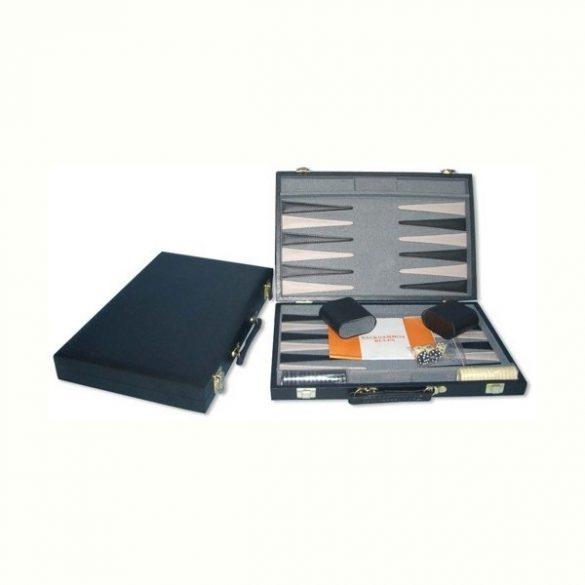 Backgammon fekete műbőr kofferben (38 cm)