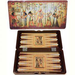 Backgammon Egyiptomos fadobozban - 30 cm