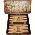 Backgammon Egyiptomos fadobozban - 48 cm